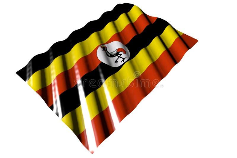 Piękna glansowana flaga Uganda z wielkimi fałdami kłaść odosobnionego na bielu - jakaś świętowanie flagi 3d ilustracja ilustracja wektor