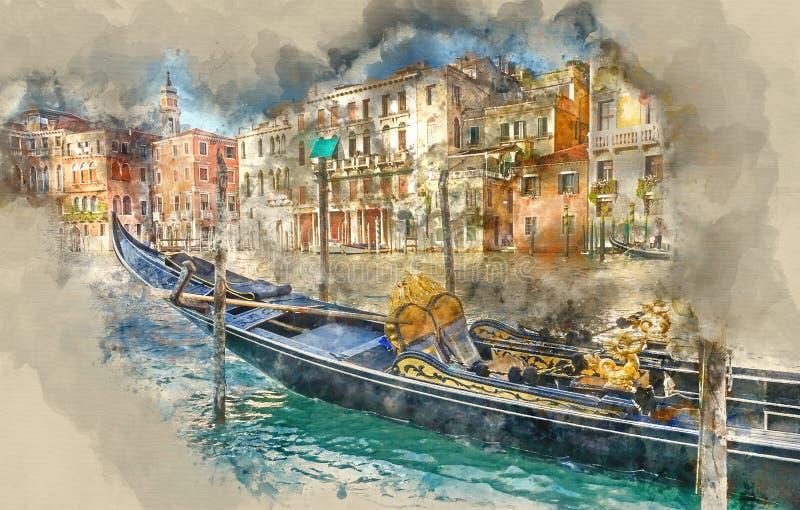 Piękna gondola w Wenecja ilustracji