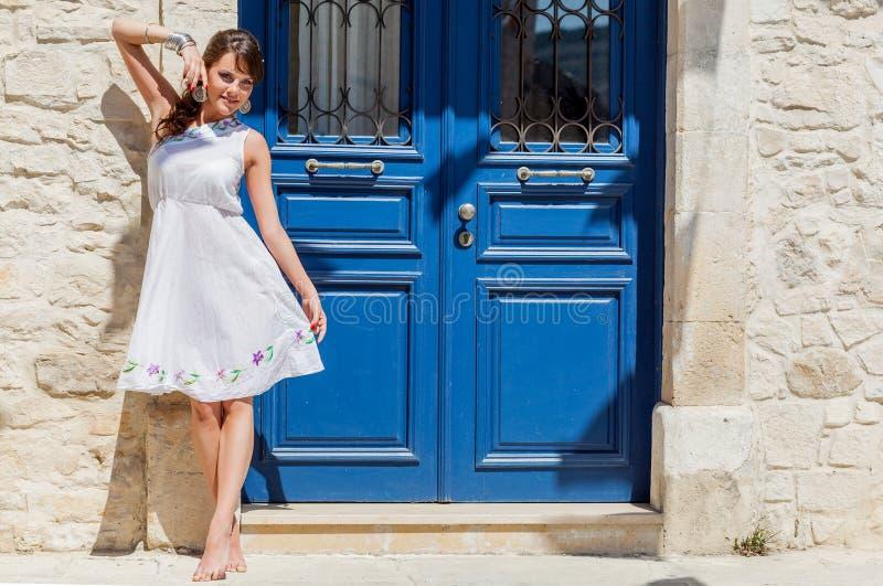 Grecja kobieta pozuje obraz royalty free