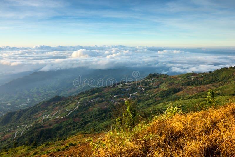 Piękna halna sceneria w Phutabberk Phetchabun, Tajlandia zdjęcie stock
