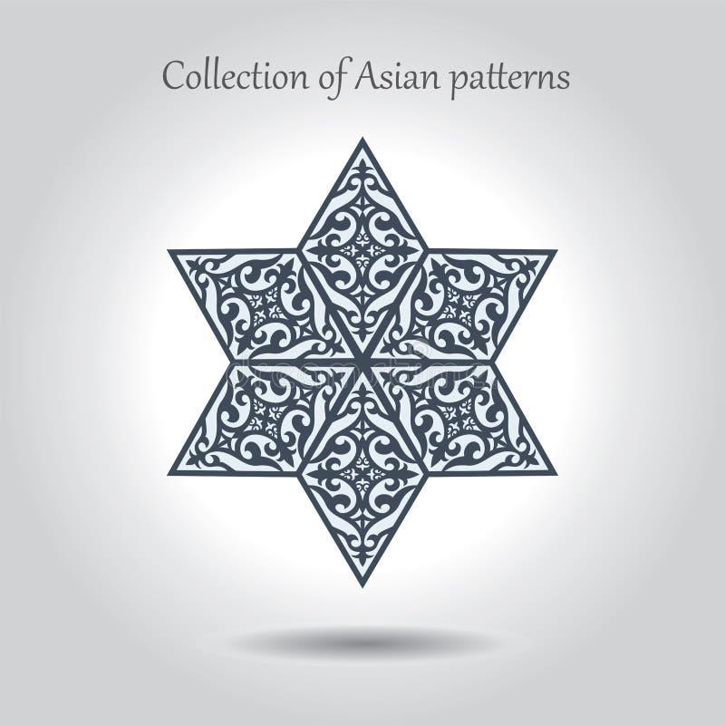 Piękna heksagonalna gwiazda z azjata wzorami inside Oddzielny royalty ilustracja