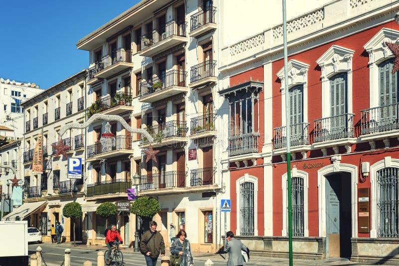 Piękna hiszpańska architektura, dekorująca przed Bożenarodzeniowymi wakacjami zdjęcie stock