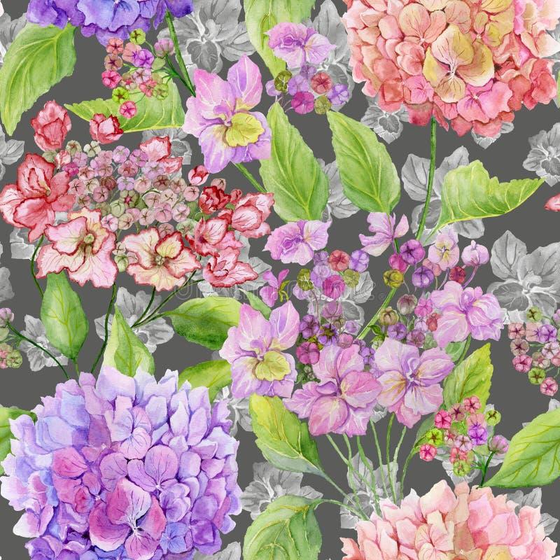 Piękna hortensja kwitnie z zielonymi liśćmi na szarym tle Bezszwowy kwiecisty wzór w miękkich kolorach adobe korekcj wysokiego ob ilustracja wektor