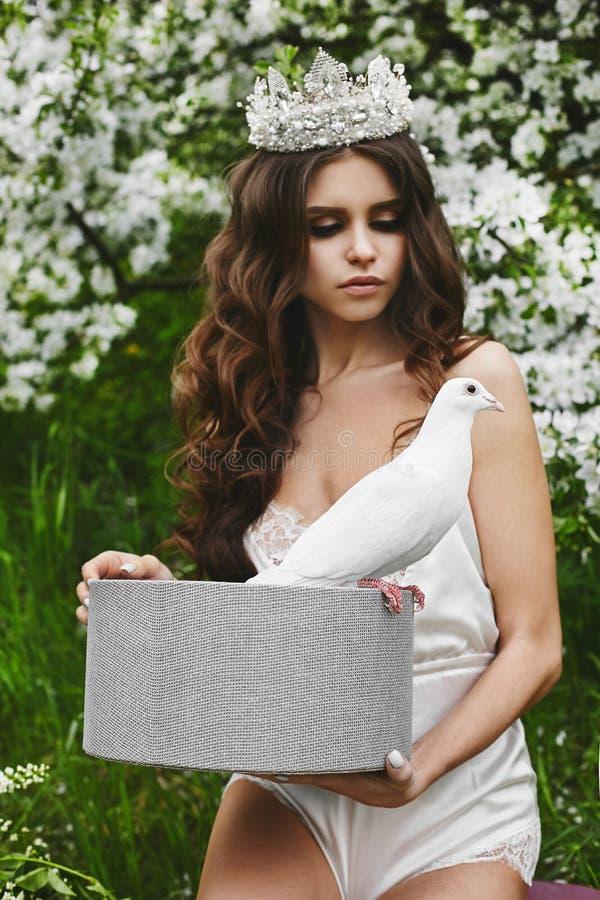 Piękna i modna brązowowłosa wzorcowa dziewczyna z delikatnym makijażem i z elegancką fryzurą i koroną, w modnym atłasie utrzymuje fotografia royalty free