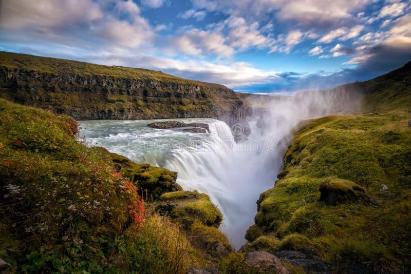 Piękna i sławna Gullfoss siklawa w Iceland fotografia stock