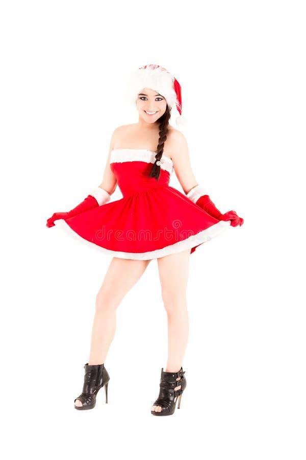Piękna i seksowna kobieta, Santa kostium Claus obrazy royalty free