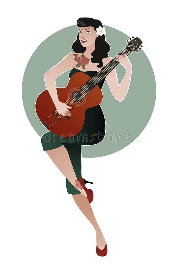 Piękna i tatuująca szpilki dziewczyna bawić się gitarę Wektorowy Illust ilustracji