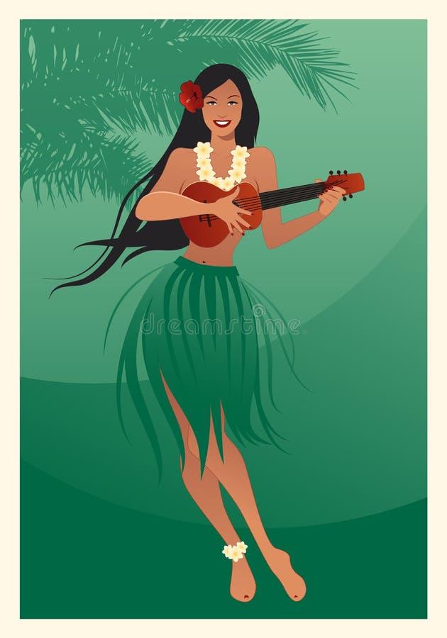 Piękna i uśmiechnięta Hawajska dziewczyna jest ubranym spódnicę liście bawić się ukulele odizolowywającego na białym tle ilustracji