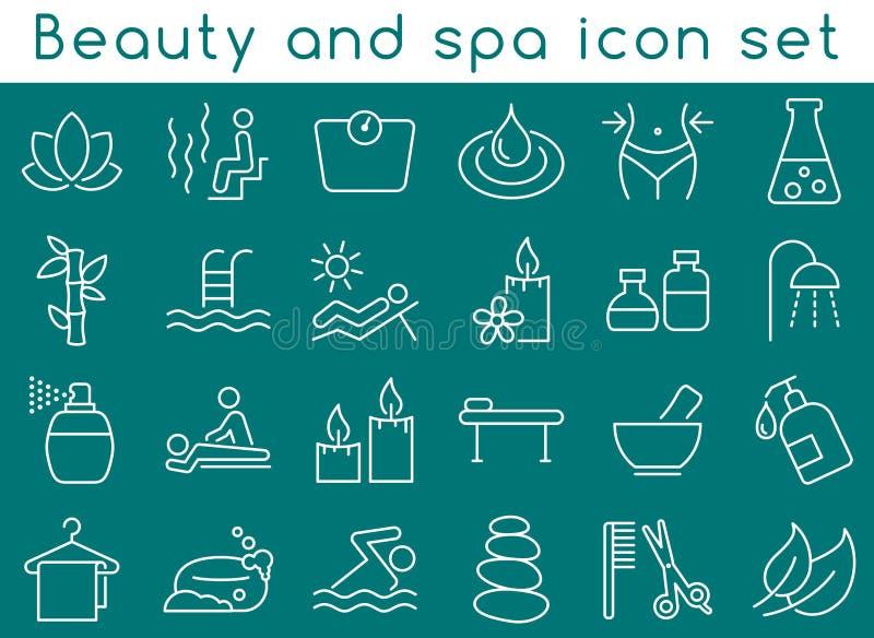 Piękna i zdrój ikony set royalty ilustracja