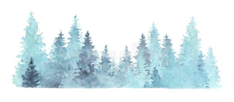 Piękna ilustracja lasów iglastych w kolorze wodnym, bożonarodzeniowe drzewa, natura zimowa, tło wakacyjne, iglaste, śnieg, wylot ilustracji