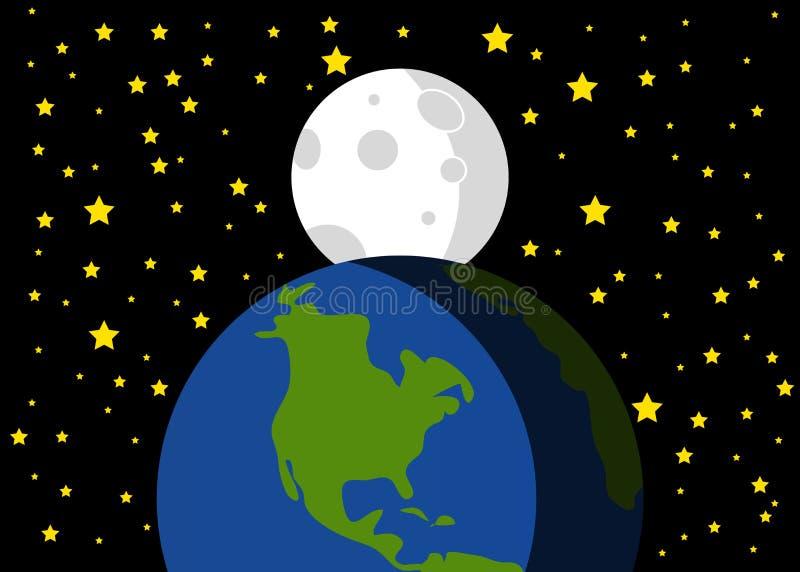 Piękna ilustracja ziemi i księżyc tło royalty ilustracja