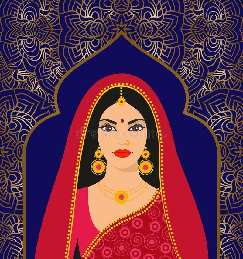 Piękna Indiańska brunetki młoda kobieta w kolorowym sari przeciw tłu ornament ilustracji