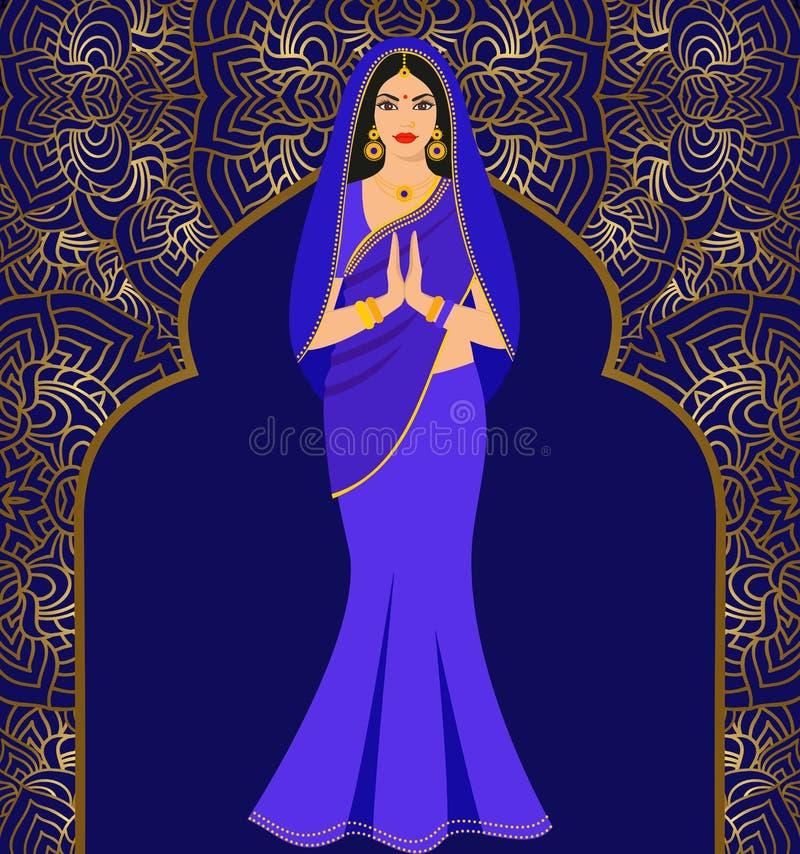 Piękna Indiańska brunetki młoda kobieta w kolorowym sari przeciw tłu ornament ilustracja wektor