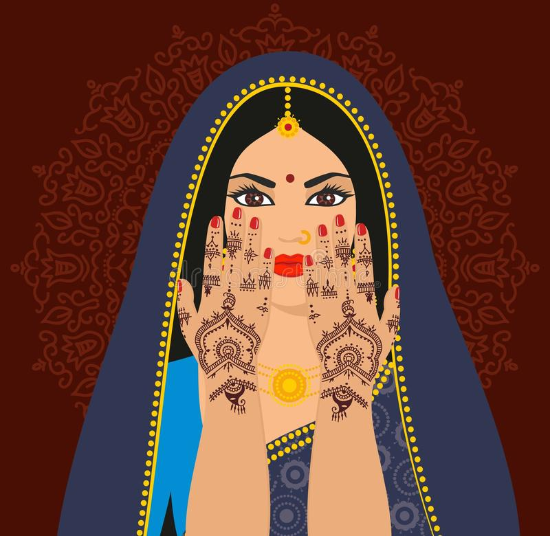 Piękna Indiańska brunetki młoda kobieta w sari royalty ilustracja