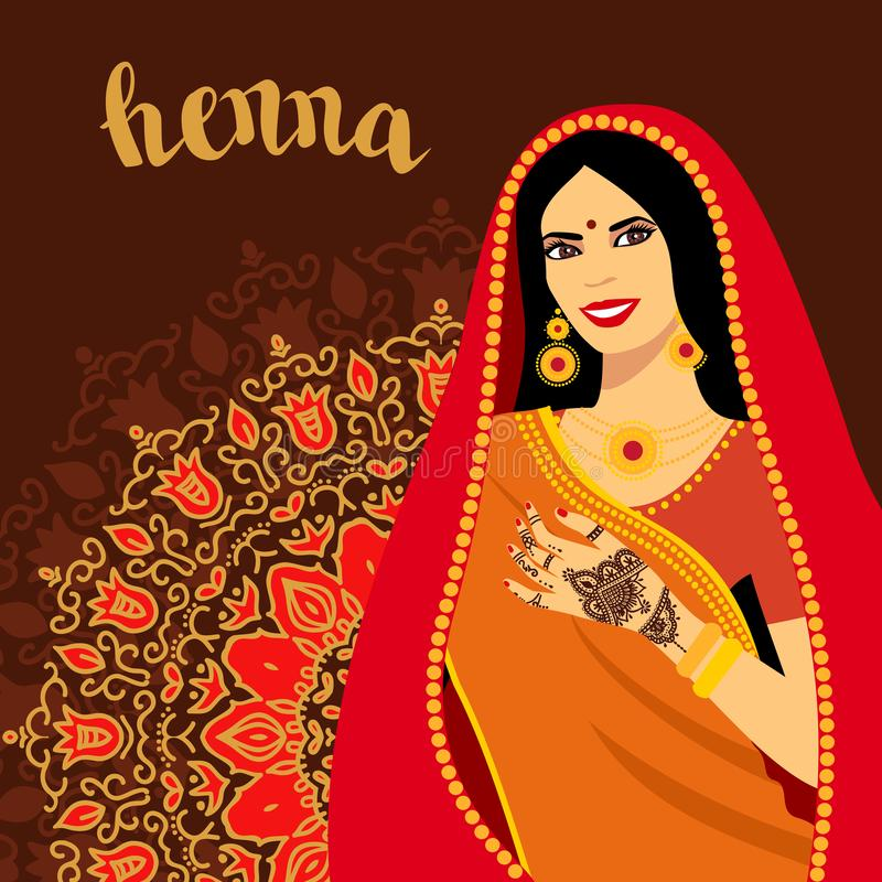 Piękna Indiańska brunetki młoda kobieta w sari Ręki z mehndi wzorem royalty ilustracja