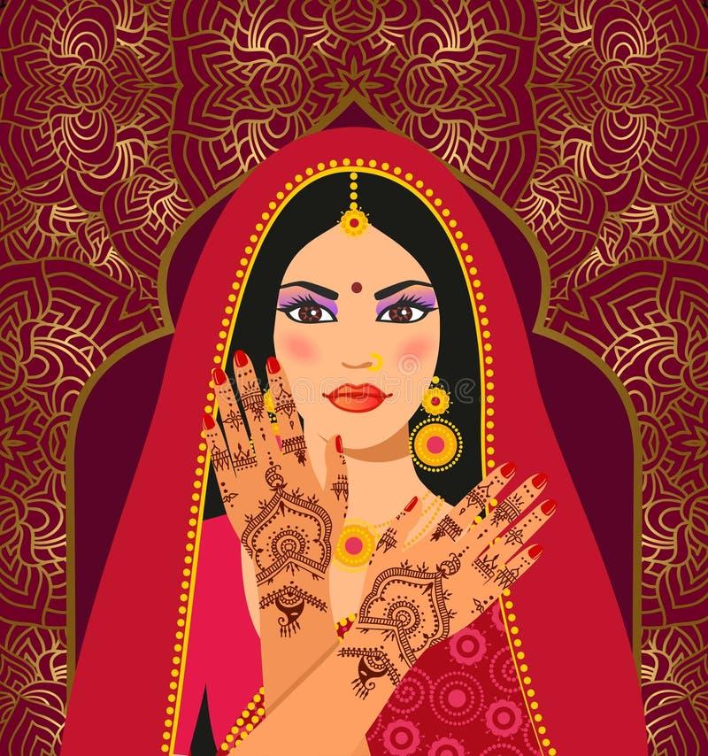 Piękna Indiańska brunetki młoda kobieta w sari Ręki z mehndi wzorem ilustracji