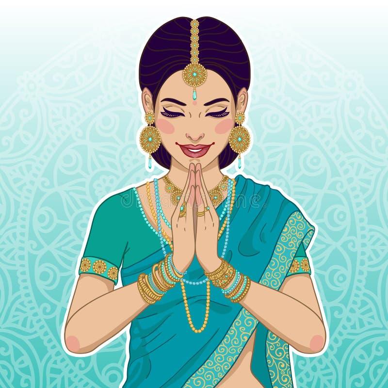 Piękna indyjska kobieta mówi namaste ilustracji