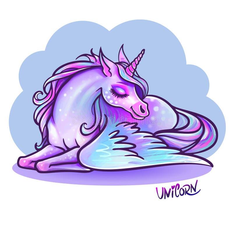 Piękna jednorożec w sen ilustracja Magiczna fantazja h ilustracji