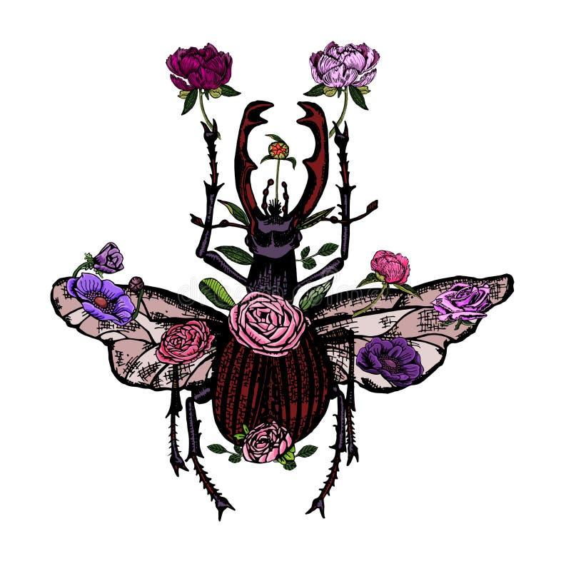 Piękna jeleń ściga z pięknymi kwiatami, ręka rysująca fotografia royalty free