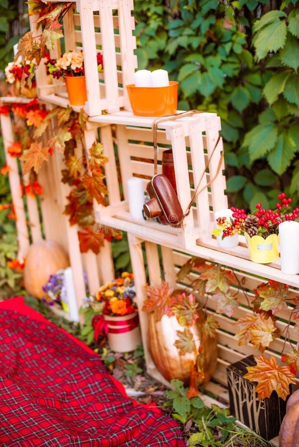 Piękna jesień Jesieni sceneria w naturze Jabłka i pomarańczowe banie obrazy stock