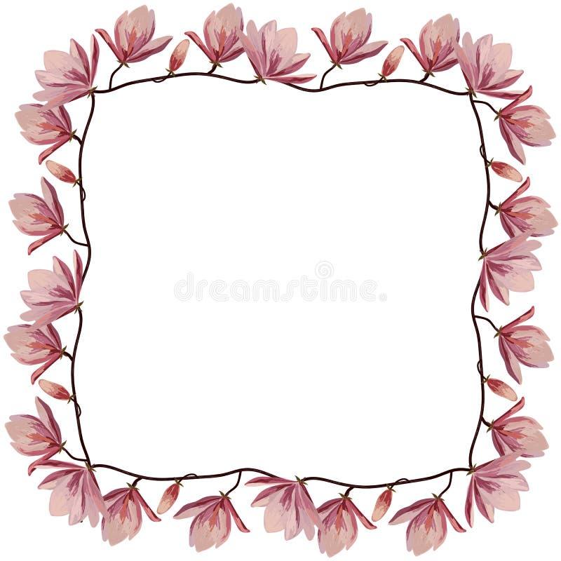 Piękna kąt rama z różowymi magnoliowymi kwiatami royalty ilustracja