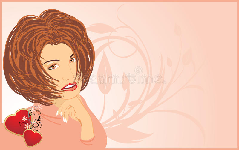 piękna karciana serc portreta kobieta ilustracji