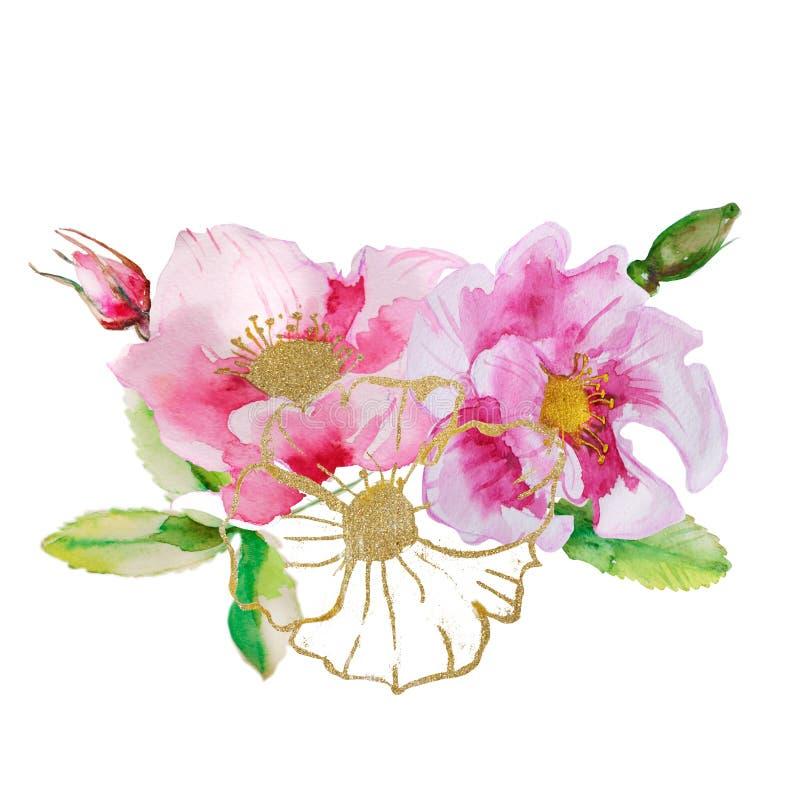 Piękna karta z kwiecistym bukietem akwareli rośliny ilustracji