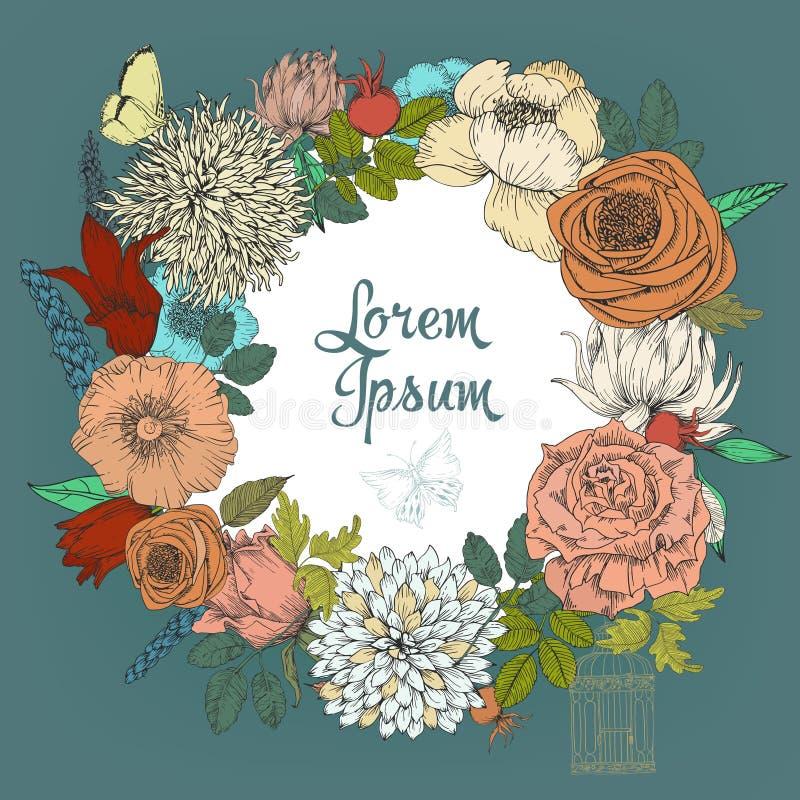 Piękna karta z round kwiecistym wiankiem rocznika ogród ilustracja wektor