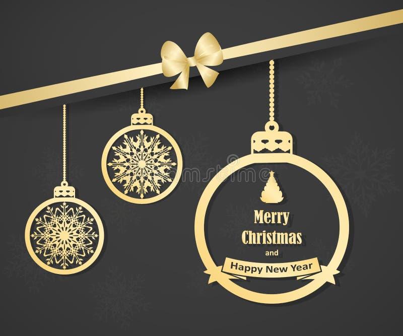 Piękna kartka bożonarodzeniowa z złocistymi wiszącymi boże narodzenie piłkami, łękiem i Elegancki tło dla nowego roku ` s projekt ilustracji