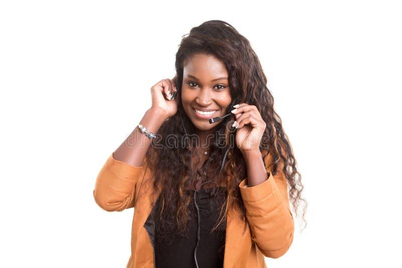 piękna klienta dziewczyny słuchawki operatora przedstawiciela telefonu kobieta zdjęcia royalty free
