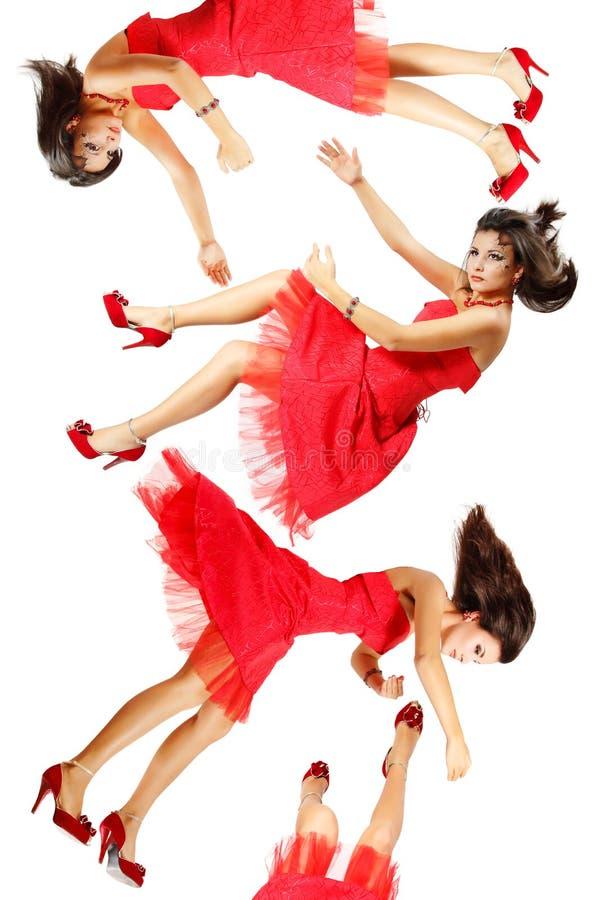 Piękna kobieta łamający lala spada puszek zdjęcia royalty free
