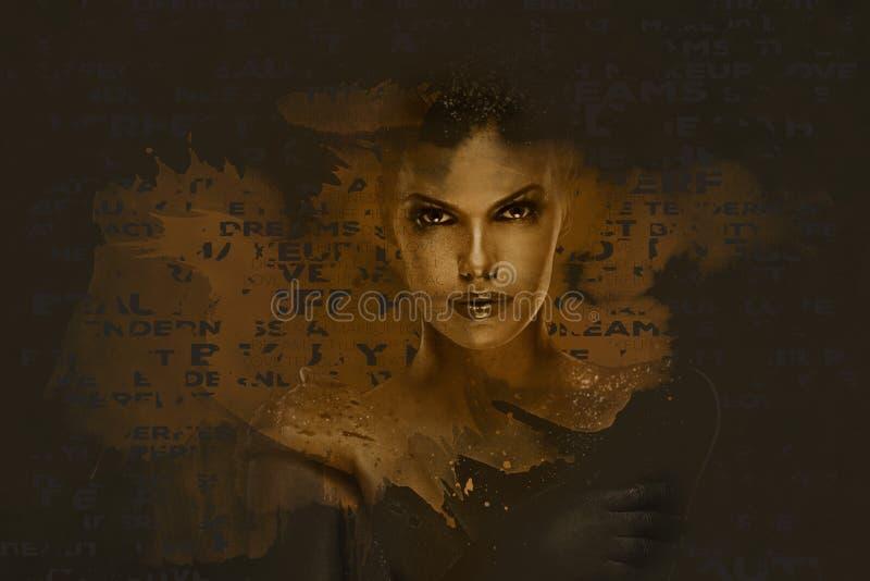 piękna kobieta abstact głębokie sztuki czerwony czy cyfrowy ilustracji