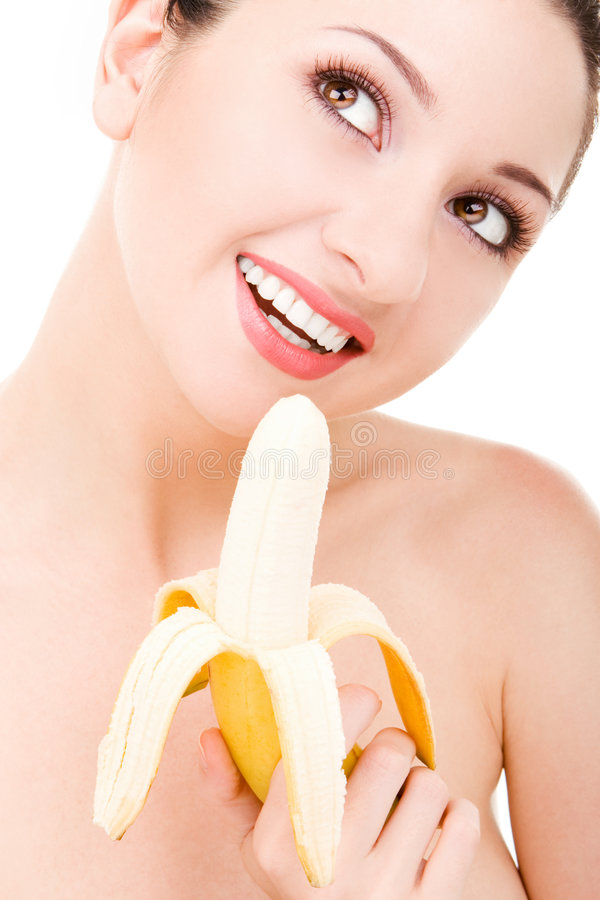 piękna kobieta bananów obrazy royalty free