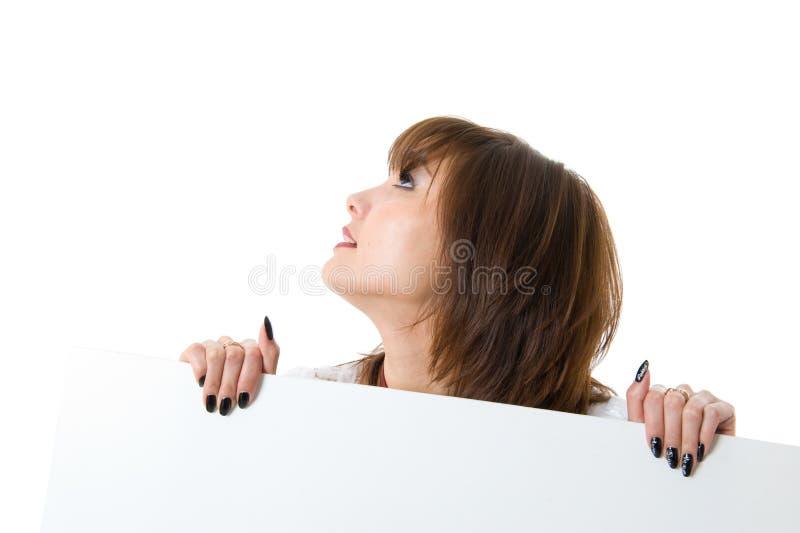 piękna kobieta billboardu gospodarstwa zdjęcie stock