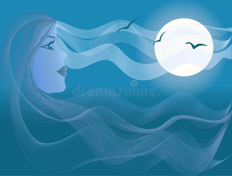 piękna kobieta blasku księżyca morza ilustracja wektor