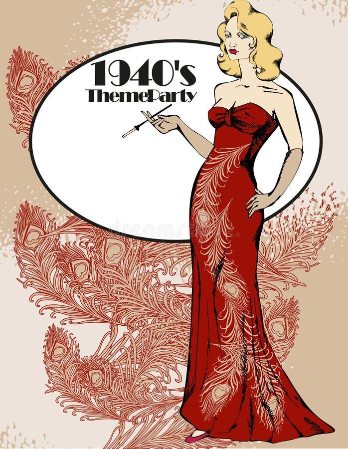 piękna kobieta elegancka royalty ilustracja