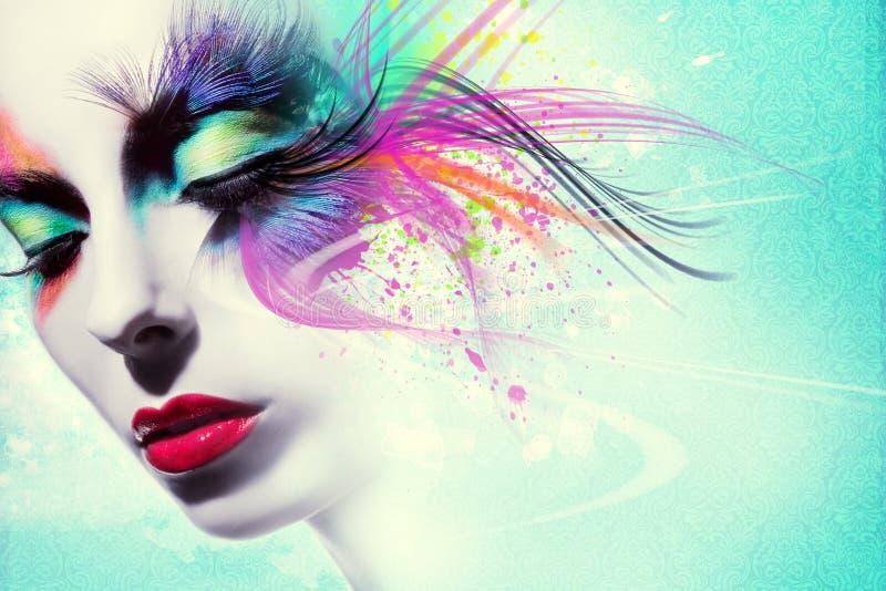 Piękna kobieta, grafika z atramentem w grunge stylu obraz royalty free
