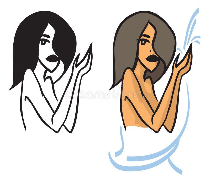 Piękna kobieta i woda z ręcznikiem royalty ilustracja