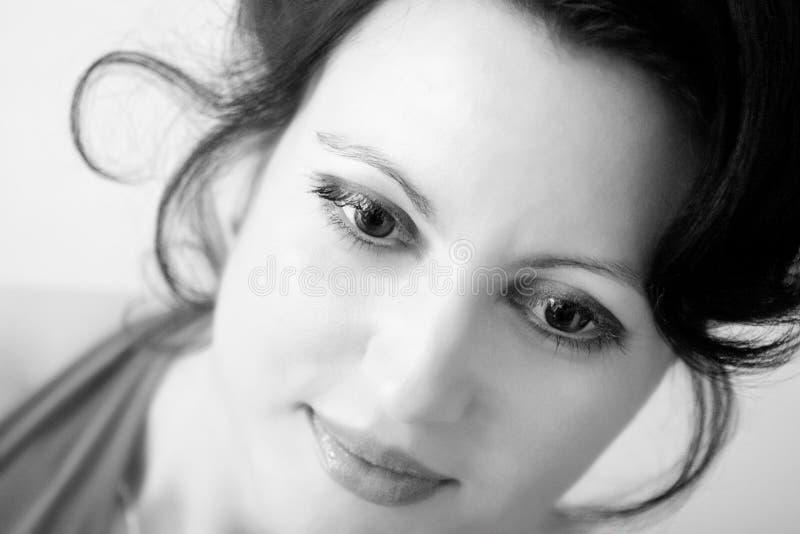 piękna kobieta. około jej obrazy stock
