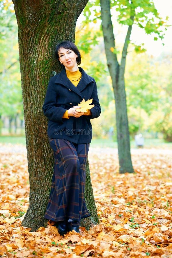 Piękna kobieta pozująca się żółtych liści w jesiennym parku, sezon jesienny obraz stock