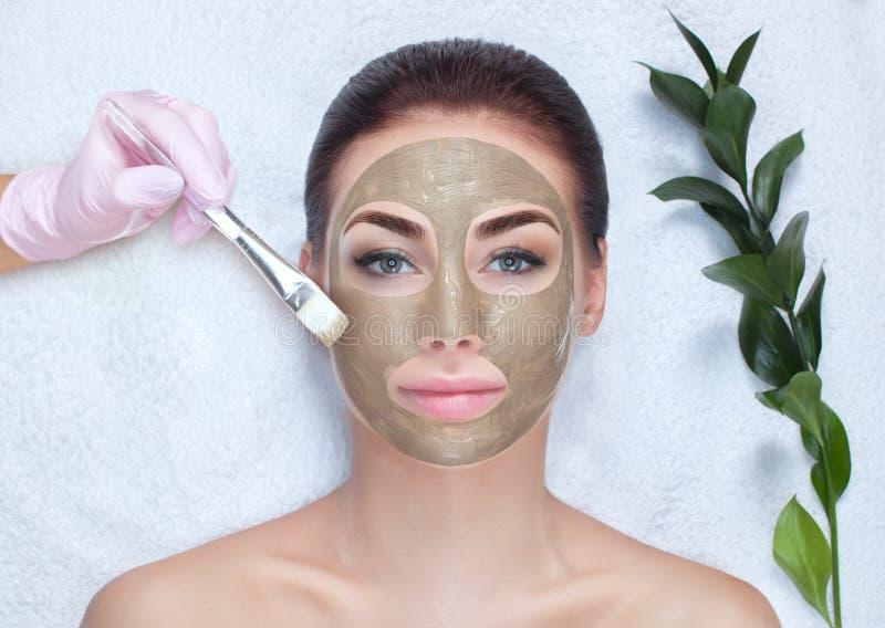 Piękna kobieta robi na twarzy maskę przeciwpomarszczoną, trzyma w rękach bawełniany kwiat. Leczenie spa i pielęgnacja twarzy obraz royalty free