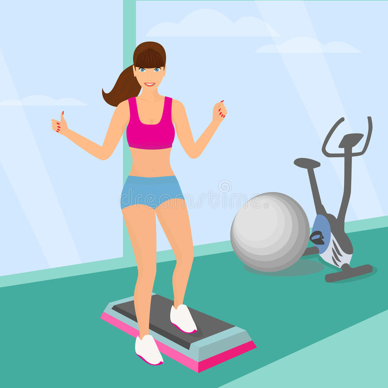 Piękna kobieta robi tlenowcowemu treningowi w gym ilustracja wektor