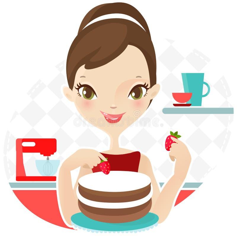 Piękna kobieta robi tortowi z truskawką wektor zdjęcie stock