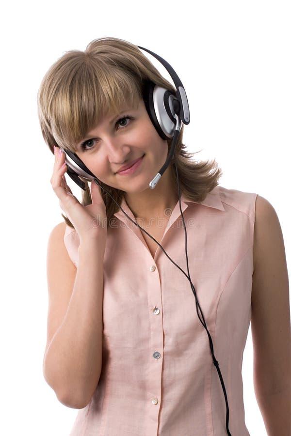 piękna kobieta słuchawki zdjęcia stock