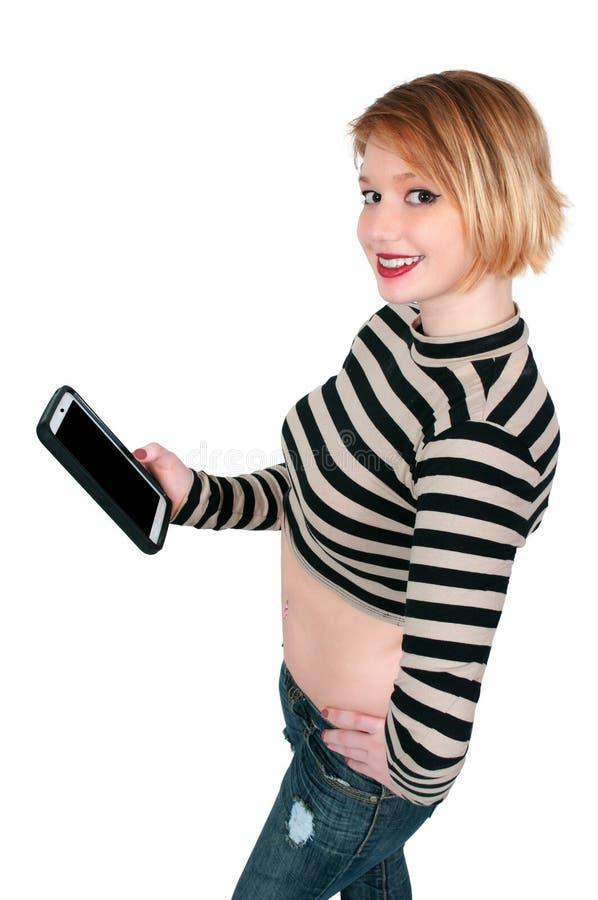 Piękna kobieta Texting na pastylce zdjęcia royalty free