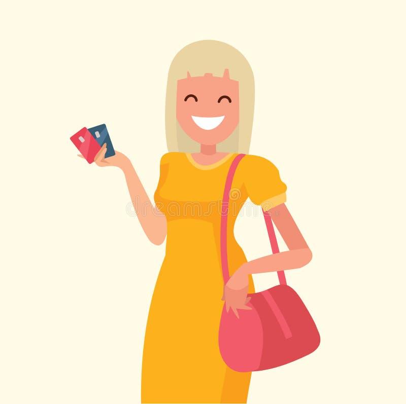 Piękna kobieta trzyma kredytową kartę w jej ręce na zakupy ilustracji