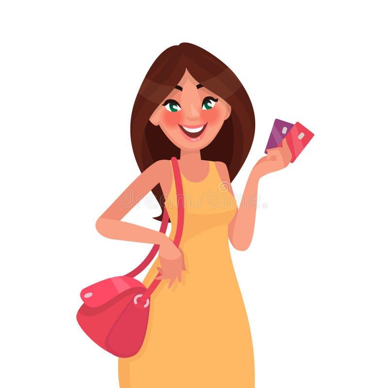 Piękna kobieta trzyma kredytową kartę w jej ręce na zakupy Vec royalty ilustracja
