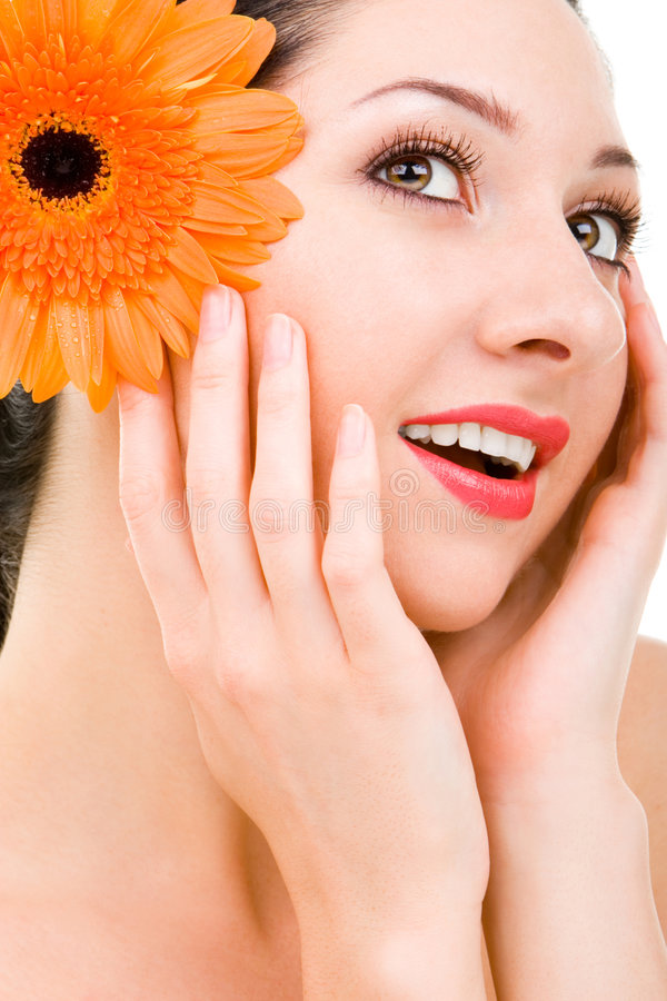 piękna kobieta uśmiech. zdjęcia stock