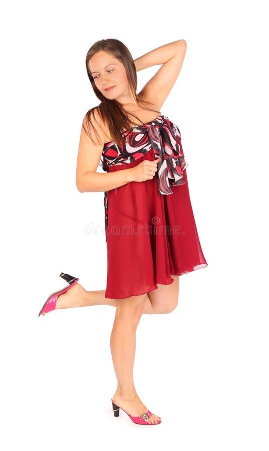 Piękna kobieta ubierająca w pareo pozach obraz stock
