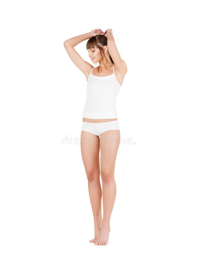 Piękna kobieta w bawełnianej bieliźnie zdjęcie royalty free